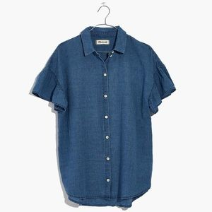 Madewell Central Ruffle Sleeve Top in Indigo